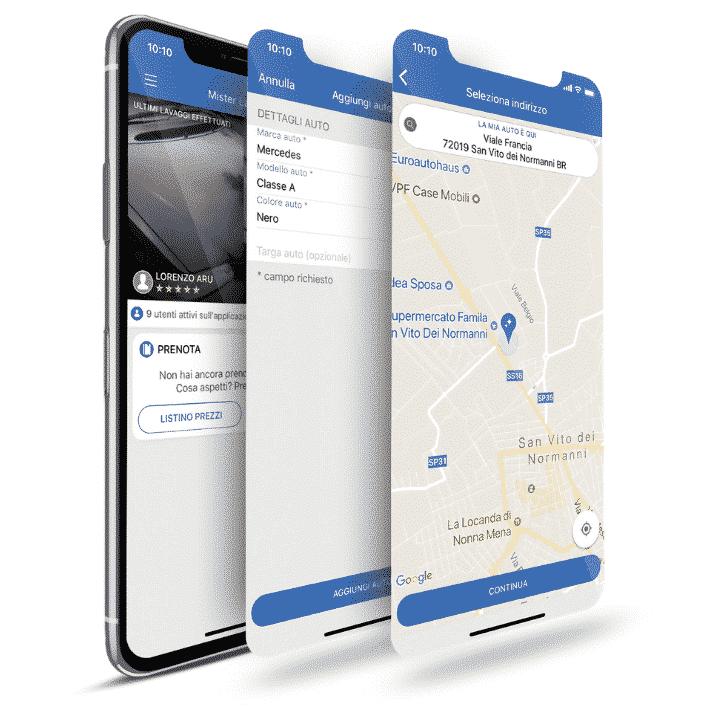 selezione luogo e modello auto per lavaggio tramite app