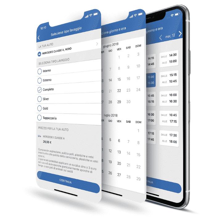 selezione tipo di servizio data e orario per lavaggio tramite app